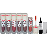 Kiss Beauty Liquid Lipstick Pack Of 6 And Free Kajal-THPO-A2