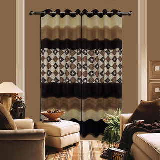 Premium Quality Fabric Fancy & Designer  2 Piece Set of Eyelet Polyester Decorative Door Curtain by ODHNA BICHONA -7Ft,Brown OB-001_7ft