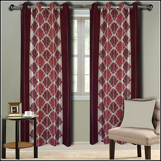 Premium Quality Fabric Fancy & Designer  2 Piece Set of Eyelet Polyester Decorative Long Door Curtain by ODHNA BICHONA -9Ft,Maroon OB-007_9ft