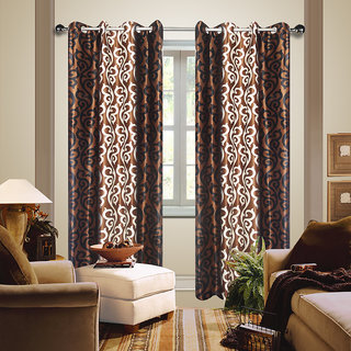 Premium Quality Fabric Fancy & Designer  2 Piece Set of Eyelet Polyester Decorative Long Door Curtain by ODHNA BICHONA -9Ft,Brown OB-019_9ft