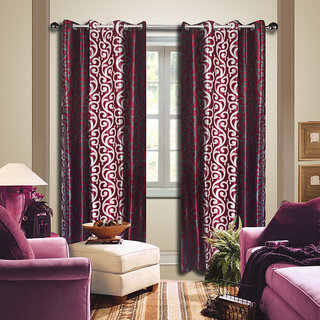 Premium Quality Fabric Fancy & Designer  2 Piece Set of Eyelet Polyester Decorative Long Door Curtain by ODHNA BICHONA -9Ft,Maroon OB-020_9ft