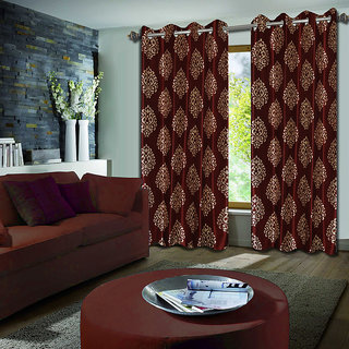 Premium Quality Fabric Fancy & Designer  2 Piece Set of Eyelet Polyester Decorative Door Curtain by ODHNA BICHONA -7Ft,Maroon OB-056_7ft