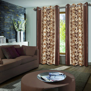 Premium Quality Fabric Fancy & Designer  2 Piece Set of Eyelet Polyester Decorative Long Door Curtain by ODHNA BICHONA -9Ft,Brown OB-065_9ft
