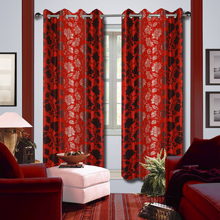 Premium Quality Fabric Fancy & Designer  2 Piece Set of Eyelet Polyester Decorative Long Door Curtain by ODHNA BICHONA -9Ft,Red OB-091_9ft