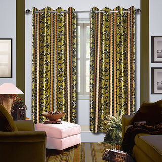 Premium Quality Fabric Fancy & Designer  2 Piece Set of Eyelet Polyester Decorative Long Door Curtain by ODHNA BICHONA -9Ft,Green OB-098_9ft
