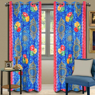 Premium Quality Fabric Fancy & Designer  2 Piece Set of Eyelet Polyester Decorative Door Curtain by ODHNA BICHONA -7Ft,Blue OB-109_7ft