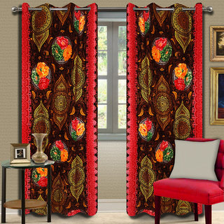 Premium Quality Fabric Fancy & Designer  2 Piece Set of Eyelet Polyester Decorative Door Curtain by ODHNA BICHONA -7Ft,Brown OB-112_7ft