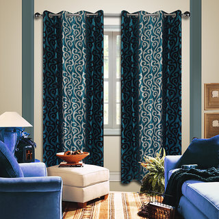 Premium Quality Fabric Fancy & Designer  2 Piece Set of Eyelet Polyester Decorative Door Curtain by ODHNA BICHONA -7Ft,Blue OB-025_7ft
