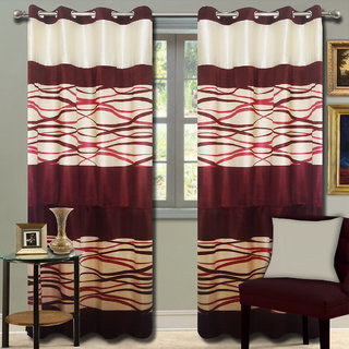 Premium Quality Fabric Fancy & Designer  2 Piece Set of Eyelet Polyester Decorative Door Curtain by ODHNA BICHONA -7Ft,Maroon OB-131_7ft