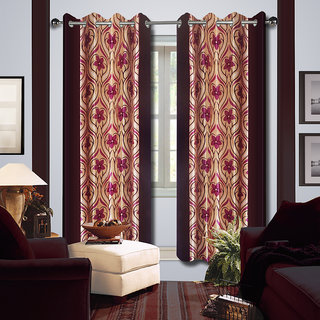 Premium Quality Fabric Fancy & Designer  2 Piece Set of Eyelet Polyester Decorative Long Door Curtain by ODHNA BICHONA -9Ft,Maroon OB-137_9ft