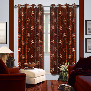 Premium Quality Fabric Fancy & Designer  2 Piece Set of Eyelet Polyester Decorative Long Door Curtain by ODHNA BICHONA -9Ft,Brown OB-138_9ft