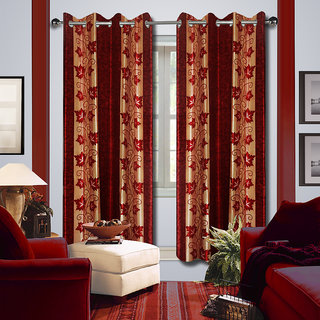 Premium Quality Fabric Fancy & Designer  2 Piece Set of Eyelet Polyester Decorative Long Door Curtain by ODHNA BICHONA -9Ft,Red OB-143_9ft