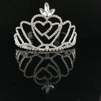 Phenovo Wedding Bridal Bride to be Double Love Hearts Lotus Crown Tiara Head Jewelry
