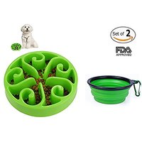 COOLTECH Slow Feed Dog Bowl Interactive Bloat Stop Pet Bowl With Collapsible Travel Dog Bowl- FDA Approved (8.1 Inch, Fl