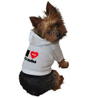 Ruff Ruff And Meow Dog Hoodie, I Love My Grandma, White, Small