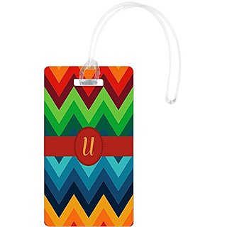 Rikki Knight Letter U Initial On Design Flexi Luggage Tags, White