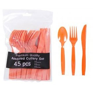 Party Supplies - Orange Plastic Utensils, 45-ct. Bags, Forks, Spoons And Knives - Serves up to 15