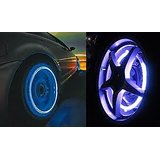 Pack of 4 Magic Flash Wheel Lights For All Bikes Cars Blue Color