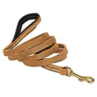 Dean & Tyler Soft Touch Dog Leash With Black Nappa Padded Handle And Solid Brass Hardware, 5-Feet By 1/2-Inch, Tan
