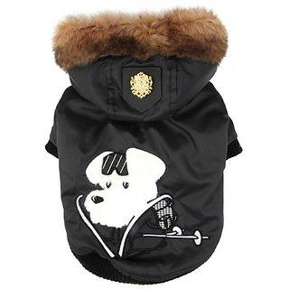 Puppia Authentic Alpine Skiing Winter Coat, Small, Black