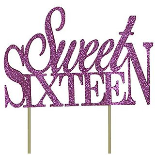 All About Details Pink Sweet-sixteen Cake Topper