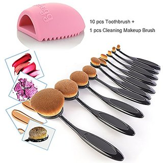 Travelmall 10PC/Set Soft Toothbrush Oval Makeup Brush Sets Foundation Powder Blusher Eyebrow Eyeliner Lip Toothbrush Cur