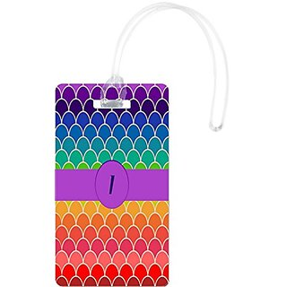 Rikki Knight I Monogram Initial On Rainbow Colors Scallop Luggage Tags, White
