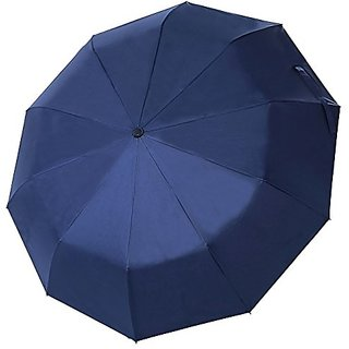 Lucear Best Travel Umbrella 10-rib Compact, Windproof Rain Umbrellas with UV Protection 50+ UPF (Blue)