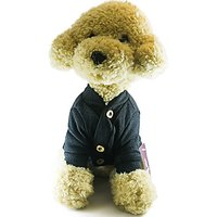 Cheepet 100% Cotton Classic Cardigan Sweater Apparel For Dog Cat Puppy (M, Black)