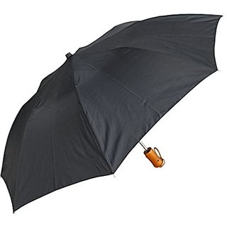 RainStoppers Auto Open Collapsible Umbrella with Rubberized Plastic Handle, Black, 42-Inch