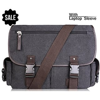AB Earth Vintage Leather Canvas Nylon School bag Messenger Bag Briefcase, M707 (Darkgrey with laptop sleeve)