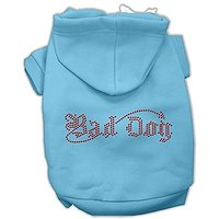 Mirage Pet Products 8-Inch Bad Dog Rhinestone Hoodies, X-Small, Baby Blue
