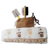 Best & Affordable Pet Grooming Kit For Dogs & Cats (4) Pieces Double Sided Brush/pin, Comb/slacker And Nail Clipper With