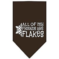 Mirage Pet Products All My Friends Are Flakes Screen Print Bandana For Pets, Large, Cocoa