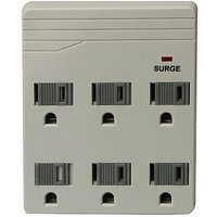 Woods 041151 6-Outlet Front Entry Surge Protector Wall Adapter, 450 Joules Of Protection, Light Grey