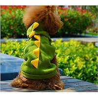 ShineVGift Dog Pet Puppy Cute Dino Hoodie Apparel Clothes Costumes Dog Coat (L)