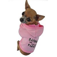 Ruff Ruff And Meow Dog Hoodie, Bitches Have More Fun, Pink, Medium
