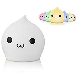 Deli Portable Adorable Silicone LED Night Light, Touch Sensor Beside LED Table Lamp, Battery Powered Water Drop Night La