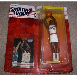 1994 - Kenner - Starting Lineup - New Edition - Dominique Wilkins #21 - Los Angeles Clippers - Vintage Action Figure - w