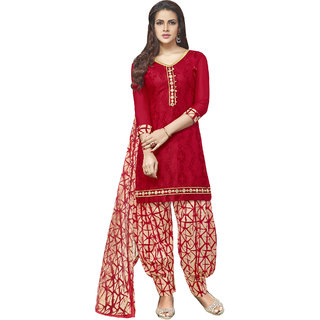 Sareemall Red Embroidered Glaze Cotton Unstitched Dress Material With Matching Dupatta