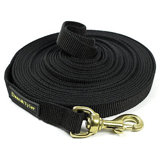 Dean and Tyler DT Track Nylon Tracking Leash, Black 20-Feet by 3/4-Inch with Solid Brass Hardware
