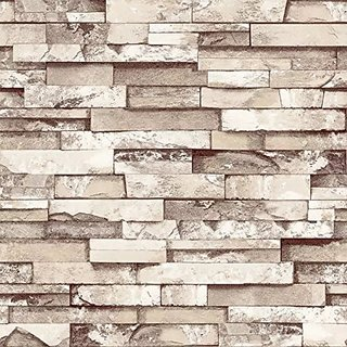 3D Grey Light Brown/Khaki Brick Wallpaper PVC Waterproof Anti-insect Mural Wallcoverings Stones Wall Decoration