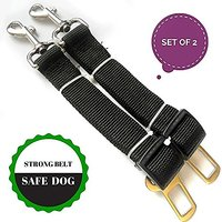 Safety Dog Car Seat Belt (2 Seatbelts Set) - Adjustable - Made From High Quality Durable Material.