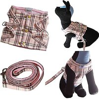 Bolbove Pet Plaid Vest Harness And Leash Set With Buttons For Cats & Small Dogs (Pink, Medium)