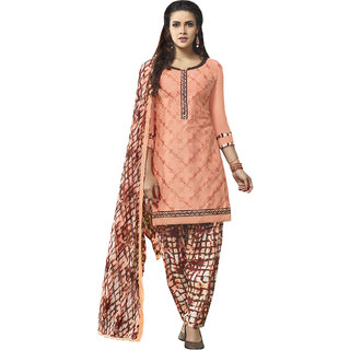 Sareemall Peach Embroidered Glaze Cotton Unstitched Dress Material With Matching Dupatta