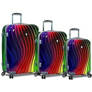 Dejuno Abstract Spectrum Stamp Polycarbonate Hardside Spinners with Lock Luggage Set