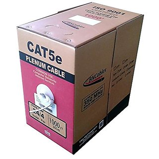 1000FT Solid Cat5e Plenum (CMP) Network Cable Easy Pull Box - White