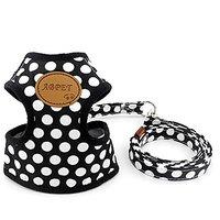 SMALLLEE_LUCKY_STORE New Soft Mesh Nylon Vest Pet Cat Small Medium Dog Harness Dog Leash Set Leads Black S