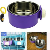 Pet Leso Removable Stainless Steel Hanging Bowl Cat Bowl Dog Water Bowl Birds Food Bowl With Dog Training Clicker -Purpl