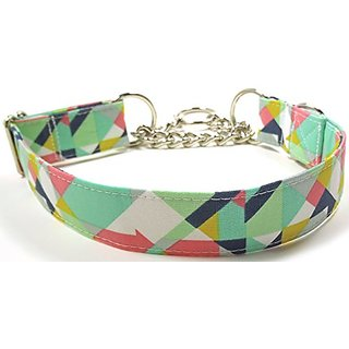 Geometric Prisms in Mint Half Check Chain Collar, Designer Cotton Dog Collar, Adjustable Handmade Fabric Collars (M)
